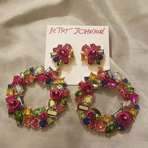 Betsey Johnson gem and flower earrings NWT